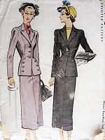 1940s Vintage SOPHISTICATED Two Piece Suit McCall 7560 Sewing Pattern Bust 36
