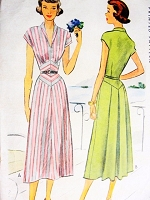 1940s STRIKING Dress Pattern McCALL 7574 Eye Catching Diamond Midriff Inset Back Pleated Flattering Design Bust 33 Vintage Sewing Pattern