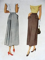 1940s Vintage STYLISH Skirt with Pockets and Gathered Back McCall 7599 Waist 26 Sewing Pattern