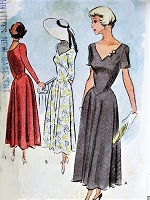 1940s BEAUTIFUL V Neckline Dress Pattern McCALL 7614 Figure Flattering Bias Cut Skirt Day or Cocktail Party Bust 36 Vintage Sewing Pattern