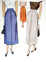 1940s Vintage HAUTE Skirt with Pockets McCall 7642 Sewing Pattern Waist 26