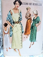 1940s LOVELY Sun Dress and Stole Pattern McCALL 7659 Side Button Day or Cocktail Dress Beautiful Style Bust 32 Vintage Sewing Pattern FACTORY FOLDED