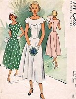 1940s LOVELY Party Prom Princess Dress Pattern McCALL 7662 Scalloped Capelet Summer Evening Party Dress 31 Vintage Sewing Pattern