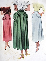 1940s LOVELY Skirt Pattern McCALL 7681 Slim Front Back Fullness, Unique Design Waist Size 26 Vintage Sewing Pattern