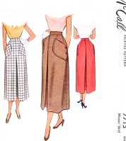 1940s STYLISH Skirt Pattern McCALL 7715 Inverted Pleat Shaped Large Pockets Waist 28 Vintage Sewing Pattern