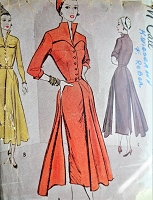 Late 1940s High Fashion Dress Pattern McCALL 7736 Wing Collar Floating Panels Stunning Design Bust 30 Vintage Sewing Pattern
