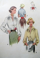 1940s Vintage ELEGANT Blouse with Wing Collar and Cuffs McCall 7768 Sewing Pattern Bust 36