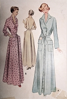1940s CLASSY Housecoat Robe Pattern McCALL 7811 Lounging Brunch Coat Hostess Gown Classic Style Bust 30 Vintage Sewing Pattern
