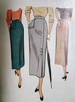 1940s SLEEK Slim Skirt Pattern McCALL 7903 Chic Design Details Waist 28 Vintage Sewing Pattern