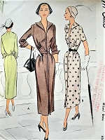 1950s CLASSY Slim Dress Pattern McCALL 7938 Day or After 5 Dress Beautiful Design Details Bust 34 Vintage Sewing Pattern
