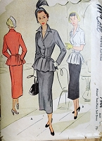 1950s FLATTERING Suit Dress Pattern McCALL 7944 Beautiful Jacket With Slim Skirt Day or Evening Bust 32 Vintage Sewing Pattern