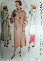 1950 BEAUTIFUL Coat Pattern McCALL 7993 Large Collar Wide Cuffs Large Pockets Coat in 2 Lengths Bust 32 Vintage Sewing Pattern FACTORY FOLDED
