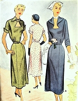 1950s BEAUTIFUL Dress Pattern McCALL 7994 Lovely KEYHOLE Neckline Bust 36 Vintage Sewing Pattern