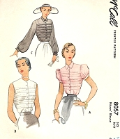 1950s BEAUTIFUL Blouse Pattern McCALL 8057 Horizontal Pin Tucks Button Front  Lovely Blouse 3 Sleeve Variations Bust 32 Vintage Sewing Pattern