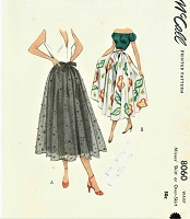 1950 DREAMY Full Skirt or Over Skirt Pattern McCALL 8060 Daytime or Evening Skirts Waist 24 Vintage Sewing Pattern