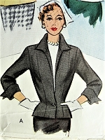 1950s FABULOUS Fitted Suit Jacket Pattern McCALL 8101 Figure Flattery, Wing Collar and Cuffs Two Versions Bust 32 Vintage Sewing Pattern