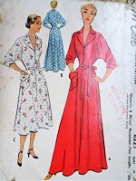 1950s GLAM Housecoat Robe Hostess Gown Pattern McCALL 8221 Beautiful Design Details Bust 32 Vintage Sewing Pattern