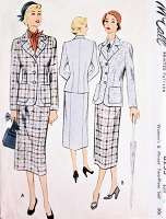 1950s STYLISH Suit Pattern McCALL 8253 Classic Slim Skirt Tailored Suit Bust 36 Vintage Sewing Pattern FACTORY FOLDED