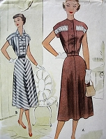 1950s STYLISH Dress Pattern McCALL 8407 Figure Flattering Dress Two Versions Bust 30 Vintage Sewing Pattern FACTORY FOLDED