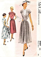 1950s PRETTY Summer Dress Pattern McCALL 8469 Cap Sleeves, Pleated Yoke,Dress Bust 28 Vintage Sewing Pattern FACTORY FOLDED