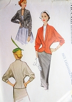 1950s FABULOUS Fitted Jacket Pattern McCALL 8471 Beautifully Figure Moulding Dolman Sleeved Jacket Day or Evening Bust 34 Vintage Sewing Pattern FACTORY FOLDED
