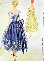 1950s BEAUTIFUL Off Shoulders Evening Party Dress and Strapless Slip Pattern McCALL 8485 Perfect For Border Prints and Lace Sheers Bust 34 Vintage Sewing Pattern