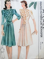 1940s Vintage LOVELY Collared Dress and Belt with Transfer Sewing Pattern McCalls 848 Bust 36