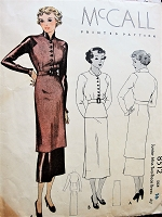 1930s ART DECO  2 Pc Dress Pattern McCALL 8512 Sleek Tunic or Regular Length Top and Slim Skirt Bust 34 Vintage Sewing Pattern