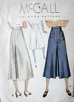 1930s LOVELY Divided Skirt Pattern McCALL 9112 Beautiful Thirties Culottes Pants Skirt Waist 26 Vintage Sewing Pattern