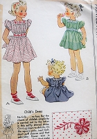 1940s ADORABLE Vintage Child's Dress with Belt, Puffed Sleeve and Transfer McCall 927 Sewing Pattern
