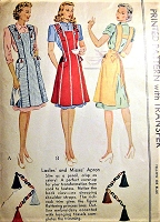 1940s LOVELY Full Apron Pattern McCALL 987 From Kitchen Apron to Hostess Apron 2 Versions Vintage Sewing Pattern