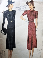 1930s Vintage SOPHISTICATED Dress with Peter Pan Collar and Matching Belt McCall 9899 Sewing Pattern Bust 32
