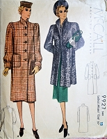 1930s CLASSIC Coats Pattern McCALL 9927 Two Fab Styles Bust 30 Vintage Sewing Pattern