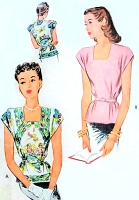 1940s BEAUTIFUL Peplum Blouse Pattern McCALL 6198 Make Overblouse Make It From Two Scarfs Bust 34 Vintage Sewing Pattern FACTORY FOLDED