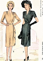 1940s FILM NOIR Style Dress Pattern McCALL 6601 Stunning Design  Draped Side Cascade Day or Evening Cocktail Party Bust 32 Vintage Sewing Pattern