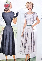 1940s BEAUTIFUL Dress Pattern McCall 7287 Draped Shoulders Flattering Yoked Skirt Day or Evening Cocktail Dress Bust 34 Easy To Sew Vintage Sewing Pattern