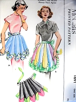 1950s NOVELTY Flower Petal Apron Pattern McCALLS 1691 Three Pretty Aprons Styles Vintage Sewing Pattern