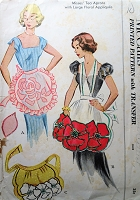 1950s Vintage LOVELY Apron with Floral Appliques McCalls 1710 Sewing Pattern