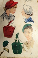 1950s CHIC Hats and Bag Pattern McCALLS 1745 Three Hat Styles and Fab Hand Bag Purse Vintage Sewing Pattern