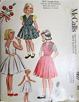 1950s ADORABLE Little Girls Jumper Dress Pattern McCALLS 1827  Girls Dress with Transfer for Embroidery or Crocheted Flowers Size 6 Vintage Childrens Sewing Pattern