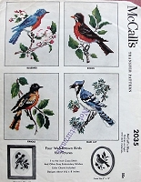 1950s BIRDS Cross Stitch Transfers Bluebird, Robin, Oriole, Blue Jay McCall's 2035 Vintage Crafts