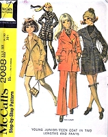 FAB 60s Trench Coat Pattern McCALLS 2088 Coat and Pants Bust 30 Vintage Sewing Pattern