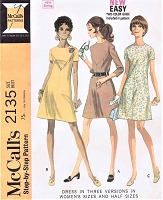 1960s MOD Dress Pattern McCALLS 2135 Three Style Versions Bust 44 Vintage Sewing Pattern FACTORY FOLDED