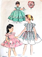 1950s DARLING Little Girls Dress and Slip Pattern McCALLS 2139 Perfect for Special Occasions in Two Lengths Includes Transfer Size 6 Vintage Childrens Sewing Pattern