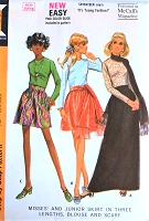 1960s McCALLS 2196 FAB Day or Evening Dirndl Skirt Blouse and Scarf Pattern  Three Skirt Lengths Mini Regular and Maxi Bust 34 Vintage Sewing Pattern UNCUT