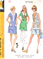 1970s RETRO Two Pc Dress Pattern McCALLS 2359 Three Style Versions Bust 38 Vintage Sewing Pattern UNCUT
