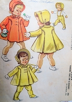 1950s CHARMING Toddlers Coat, Hat and Leggings Pattern McCALLS 2365 Very Cute Styles Size 1 Childrens Vintage Sewing Pattern