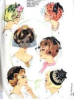 GLAMOROUS Vintage Hat Fascinators Pattern McCALLS 2399 Lovely Brides Hats, Bridal Headpiece, Veils, Hats  One Size Vintage Sewing Pattern
