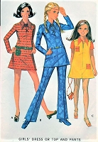 1970s RETRO Girls Lace Up Dress Tunic and Pants Pattern McCALLS 2482 Hip Styles Size 7 Childrens Vintage Sewing Pattern UNCUT