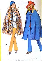 RETRO 70s Lined Cape Coat in Two Lengths and Pants Pattern McCALLS 2626 Bust 34 Vintage Sewing Pattern UNCUT